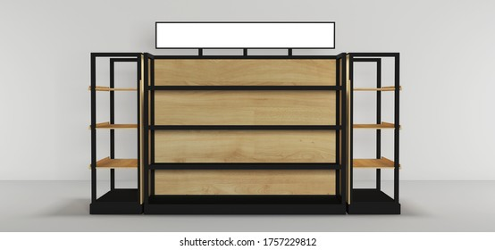 Product display gondola for superstore isolated. 3d illustration