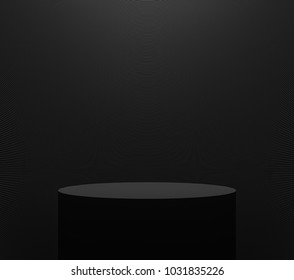 Product display stand with black color 3d rendering image,There are black cylinder stand with black line pattern background and light from above.