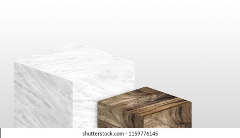 Product display stand made from white glossy marble and wood in two step with copy space for display of content design or replace your background,Banner for advertise product on website,3d rendering