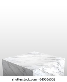 Product display stand made from white glossy marble with white copy space on top for adding content or design or replace your background,3d rendering.