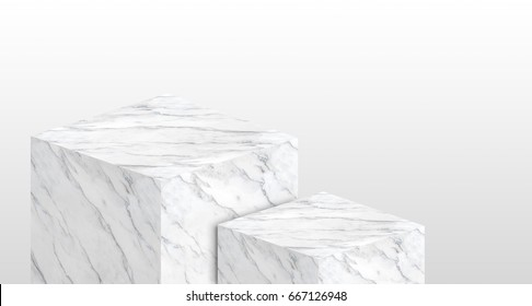 Product display stand made from white glossy marble in two step with copy space for display of content design or replace your background,Banner for advertise product on website,3d rendering.