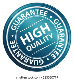 Product Information Material, Circle Blue Metallic Style High Quality Guarantee Sticker, Stamp, Icon, Tag or Label Isolated on White Background