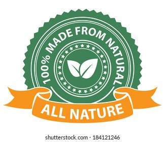 Product Information Material, Green All Nature 100 Percent Made From Natural Sticker, Stamp, Icon, Tag, Badge or Label Isolated on White Background