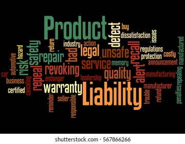 Product Liability, word cloud concept on black background.