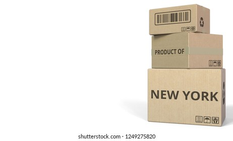 PRODUCT OF NEW YORK text on cartons, blank space for caption. 3D rendering