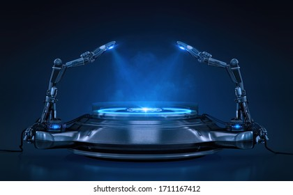 Product pedestal techno mockup design. Empty stand for product advertising isolated on black blue background with blank space. Glowing podium, stage, robotic arms, spotlights 3D template illustration