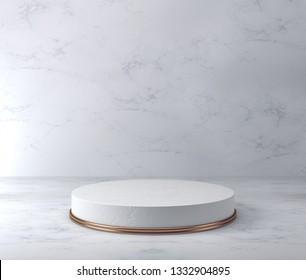 Product Pedestal, White Marble and Gold, Cylinder Shape. 3D Rendering