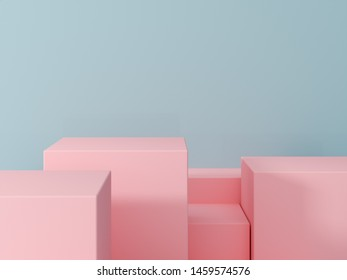 product presentation and fashion magazine. Pure pink podium with blue wall and soft shadow. Minimal geometric shape. 3d rendering illustration.