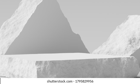 Product setting podium broken stone slabs, white stone platform, rough textured blocks object placement, 3d rendering,