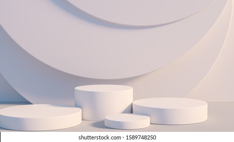 Product setting podium white abstract minimalistic geometry, minimal light interior, object placement, abstract gray background room, 3d rendering,