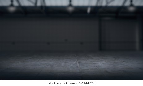 Product showcase background Warehouse blurred .3D rendering