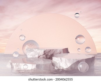 Product showcase pink peal color and bubble water. 3D rendering