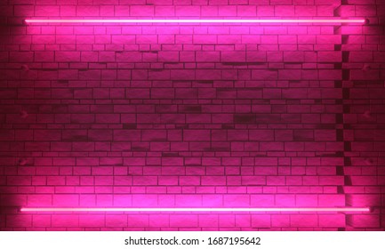 Product showcase spotlight background. Brick wall and neon light illumination. 3D rendering