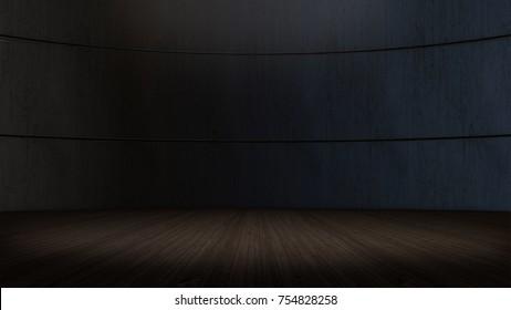 Product showcase spotlight background,wooden floor .3D rendering