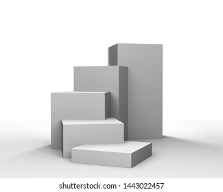 Product Stair Display. Cube Stand Concept Backdrop. 3D Rendering