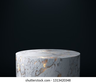 Product Stand, Marble and Gold Texture, Close up. 3D Rendering