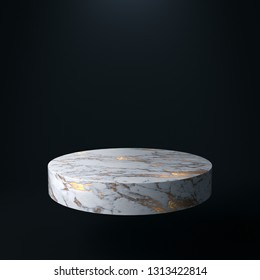 Product Stand, Marble and Gold Texture, Cylinder Shape. 3D Rendering