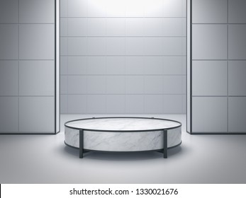Product stand, Modern mock up, Cylinder podium. 3D Rendering