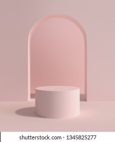 Product stand, Modern Style, Arch and Cylinder Shape. 3D Rendering