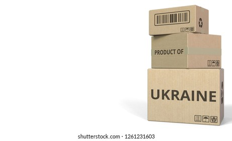 PRODUCT OF UKRAINE text on cartons, blank space for caption. 3D rendering