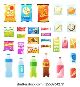 Product for vending. Tasty snacks sandwich biscuit candy chocolate drinks juice beverages pack retail, set flat food in plastic container and box icons