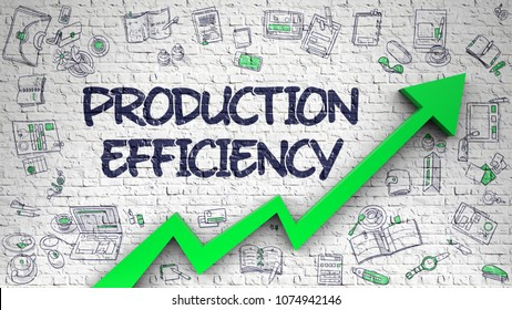 Production Efficiency - Modern Line Style Illustration with Doodle Elements. Production Efficiency - Success Concept with Hand Drawn Icons Around on Brick Wall Background. 3D.