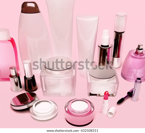 Products of care of skin, hair, decorative cosmetics on pink background. 3D illustration