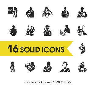 Profession icons set with professor, trainer and coiffure elements. Set of profession icons and operator concept. Editable  elements for logo app UI design.