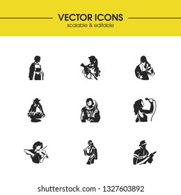 Profession icons set with violinist, fireman and priestess elements. Set of profession icons and firefighter concept. Editable  elements for logo app UI design.