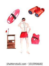 Profession lifeguard.Watercolor hand drawn illustration of lifeguard,binoculars,lifeguard tower,T-shirt.