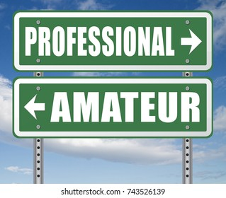 professional amateur craftsman expert novice or beginner skilled specialist or recruit and rookie road sign arrow craftsmanship 3D, illustration