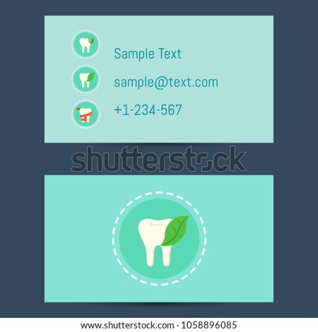 Professional business card template dentists round stock professional business card template for dentists with round tooth icon on blue background illustration flashek Gallery