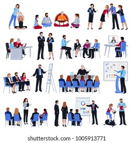 Professional business life and sport coaching spiritual expert adviser mentoring concept flat icons collection isolated  illustration