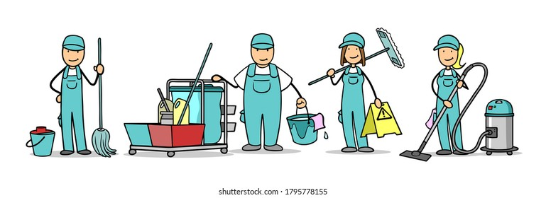Professional cartoon housekeeping crew with cleaning lady and room service