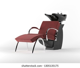 Professional chair for washing hairs before and after haircut. 3D render