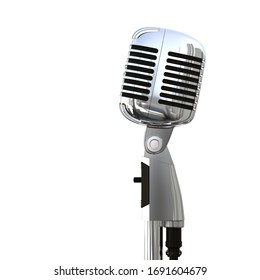 Professional Classic Polished Metal Microphone. 3D Render Isolated on White with Copy Space.