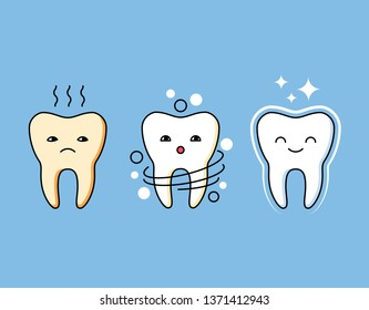 Professional cleaning of plaque illustration. Comic dental personages before and after cleaning. Stomatology assistance, whitening and oral hygiene. Beautiful and healthy teeth vector concept.