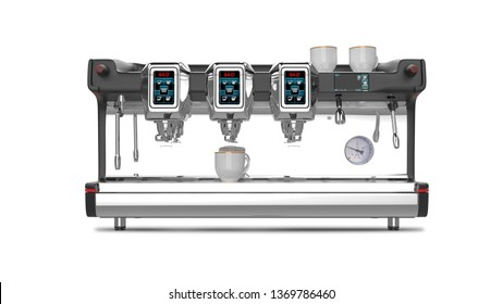 Professional Coffee Machine 3D Rendering Isolated on White