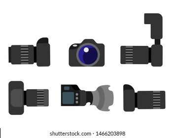 Professional digital photocameras set with lens front and side view isolated on white. Studio photography gear with zoom, analog camera with flash raster