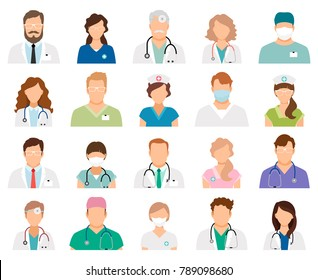 Professional doctor avatars isolated on white background. Medicine professionals and medical staff people icons illustration