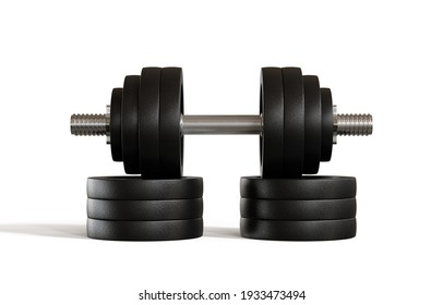 Professional dumbbell for fitness and bodybuilding isolated on white background, 3d illustration.