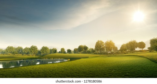 Professional golf course. 3D illustration. Green field with trees, grass and lake