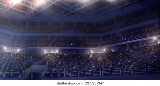 Professional gymnastic gym. Tribunes with fans. 3D illustration