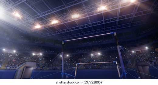 Professional gymnastic gym with Uneven Horizontal Bars. 3D illustration