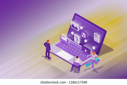 Professional hosting and data storage. Cloud data storage and remote data access flat 3d isometric business concept. Design template from landing page and advertising. Raster image