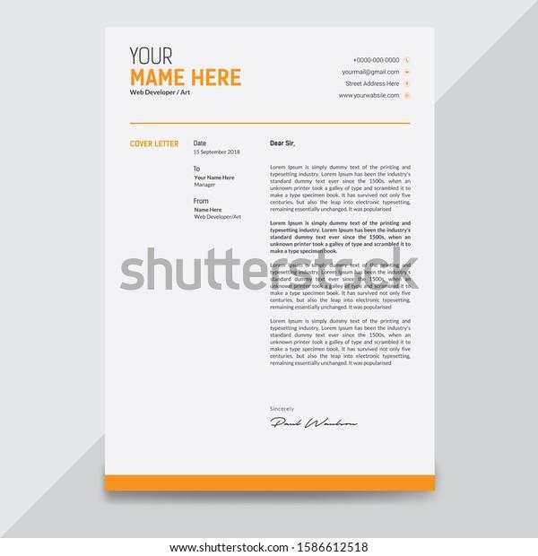 Professional Letterhead Cover Letter Design Templates Stock Illustration 1586612518