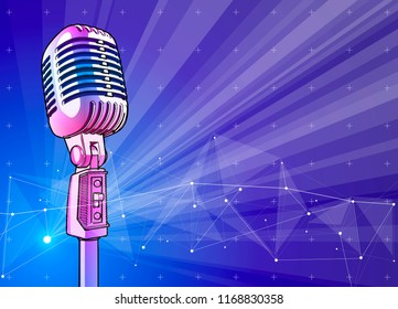 A professional microphone on a blue technological background is surrounded by a sound wave. Atmosphere of sound recording studio, chamber concert, night disco club or karaoke club