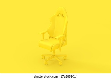 Professional Modern Yellow Computer Gaming Armchair as Duotone Style on a yellow background. 3d Rendering