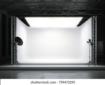 Professional photostudio with big softbox. 3d rendering