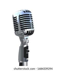 Professional Polished Metal Vintage Microphone. 3D Render.